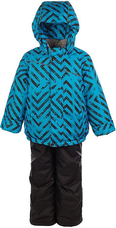Комплект для мальчика Jicco By Oldos Вартан: куртка и полукомбинезон, цвет: черный, голубой. 1J7SU11-2. Размер 122, 7 лет1J7SU11-2Практичный и износостойкий зимний костюм для мальчика. Внешняя ткань с водо-грязеотталкивающей пропиткой защитит от непогоды. Гипоаллергенный утеплитель нового поколения HOLLOFAN плотностью 300/150 г/м2 сохраняет тепло и быстро сохнет. Подкладка-флис, в рукавах и брючинах - гладкий полиэстер. Капюшон слитный, карманы на молнии. Изделие прекрасно защитит от ветра и мороза, т.к. имеет ряд особенностей: воротник-стойка с флисовой вставкой, двойная ветрозащитная планка с защитой подбородка. Рукава с отворотом и внутренней трикотажной саморегулирующейся манжетой. Полукомбинезон с широкими эластичными регулируемыми по длине подтяжками, по талии вставлена резинка для прилегания. Изделие имеет светоотражающие элементы. Рекомендовано от 0°С до минус 30°С.