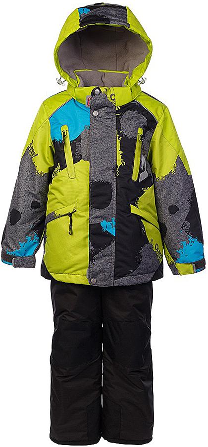 Комплект для мальчика Oldos Active Вилсон: куртка и полукомбинезон, цвет: серый меланж, салатовый. 1A7SU11. Размер 128, 8 лет1A7SU11Технологичный зимний костюм OLDOS ACTIVE Вилсон состоит из куртки и полукомбинезона. Внешнее покрытие TEFLON - защита от воды и грязи, износостойкость, за изделием легко ухаживать. Мембрана 5000/5000 обеспечивает водонепроницаемость, одежда дышит. Гипоаллергенный утеплитель HOLLOFAN PRO 200/150 г/м2 - эффективно удерживает тепло и дарит свободу движения. Подкладка - флис, в рукавах и брючинах – гладкий полиэстер. Карманы на молнии, внутренний карман с нашивкой-потеряшкой. Полукомбинезон приталенный. Костюм имеет светоотражающие элементы. Изделие прекрасно защитит от ветра и снега, т.к. имеет ряд особенностей. В куртке: съемный капюшон с регулировкой объема, воротник-стойка, ветрозащитные планки, снего-ветрозащитная юбка. Манжеты на рукавах регулируются по ширине, есть эластичные манжеты с отверстием для большого пальца. Низ куртки регулируется по ширине. В полукомбинезоне: широкие эластичные регулируемые подтяжки, карманы, усиления в местах износа, снего-ветрозащитные муфты. Рекомендовано от минус 30°С до плюс 5°С.