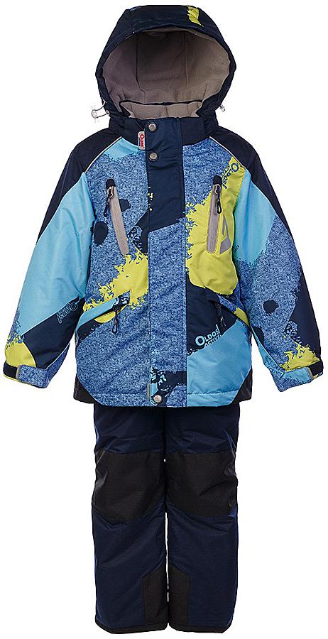 Комплект для мальчика Oldos Active Вилсон: куртка и полукомбинезон, цвет: синий меланж, голубой. 1A7SU11. Размер 110, 5 лет1A7SU11Технологичный зимний костюм OLDOS ACTIVE Вилсон состоит из куртки и полукомбинезона. Внешнее покрытие TEFLON - защита от воды и грязи, износостойкость, за изделием легко ухаживать. Мембрана 5000/5000 обеспечивает водонепроницаемость, одежда дышит. Гипоаллергенный утеплитель HOLLOFAN PRO 200/150 г/м2 - эффективно удерживает тепло и дарит свободу движения. Подкладка - флис, в рукавах и брючинах – гладкий полиэстер. Карманы на молнии, внутренний карман с нашивкой-потеряшкой. Полукомбинезон приталенный. Костюм имеет светоотражающие элементы. Изделие прекрасно защитит от ветра и снега, т.к. имеет ряд особенностей. В куртке: съемный капюшон с регулировкой объема, воротник-стойка, ветрозащитные планки, снего-ветрозащитная юбка. Манжеты на рукавах регулируются по ширине, есть эластичные манжеты с отверстием для большого пальца. Низ куртки регулируется по ширине. В полукомбинезоне: широкие эластичные регулируемые подтяжки, карманы, усиления в местах износа, снего-ветрозащитные муфты. Рекомендовано от минус 30°С до плюс 5°С.