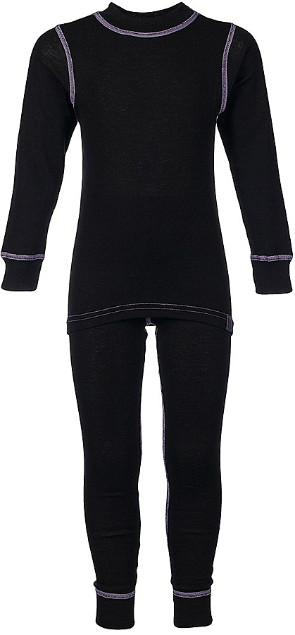 Комплект термобелья для девочки Oldos Active, цвет: черный, сиреневый. 001ДН. Размер 110, 5 лет001ДНУниверсальный комплект термобелья для девочки Oldos Active Base, состоящий из футболки с длинным рукавом и леггинсов, подойдет для вашего ребенка в прохладную погоду. Модель с однослойной структурой выполнена из полиэстера, она очень мягкая и приятная на ощупь. Эластичные плоские швы изделия не вызывают раздражений. Однослойное полотно с начесом обеспечит максимальное отведение влаги от тела ребенка и тепловой комфорт. Термобелье отличается от обычного белья лучшей способностью сохранять тепло между кожей и тканью, вдобавок оно более эластичное, благодаря чему оно не стесняет движений, не деформируется и служит дольше. Футболка с длинными рукавами и круглым вырезом горловины оформлена контрастной прострочкой. На рукавах предусмотрены широкие эластичные манжеты. Вырез горловины дополнен трикотажной резинкой. Спинка модели удлинена.Леггинсы имеют на поясе мягкую эластичную резинку, благодаря чему они не сдавливают животик ребенка и не сползают. Низ брючин дополнен широкими манжетами. Модель оформлена контрастной прострочкой.Комплект термобелья станет отличным дополнением к детскому гардеробу. Он может применяться при активном отдыхе, а также при повседневном ношении.Рекомендуемый температурный режим от +5°С до -25°С.