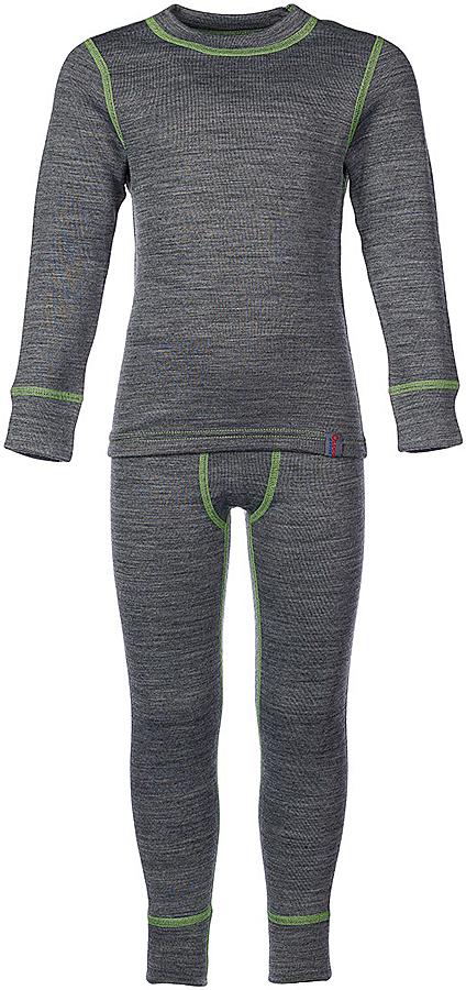 Комплект термобелья для мальчика Oldos Active Warm Plus: футболка с длинным рукавом, кальсоны, цвет: светло-серый меланж, салатовый. 003МН. Размер 152, 12 лет003МНКомплект термобелья для мальчика Oldos Active Warm Plus, состоящий из футболки с длинным рукавом и кальсон, предназначен для сохранения тепла и отвода влаги с поверхности тела. Термобелье отличается от обычного белья лучшей способностью сохранять тепло между кожей и тканью, вдобавок оно более эластичное, благодаря чему, оно не стесняет движений, не деформируется и служит дольше. Содержащийся в термобелье воздух, соприкасаясь с телом, нагревается до комфортной температуры. Таким образом, создается защитная прослойка из теплого воздуха между кожей и холодной внешней средой. При физической нагрузке кожа ребенка выделяет влагу, которая накапливаясь в ткани обычного белья, снижает его теплосберегающие свойства. На согревание и испарение этой влаги расходуется дополнительная энергия. Термобелье отводит влагу от тела. Защитная прослойка из теплого воздуха между кожей и внешней средой за счет разницы давления выталкивает влагу из термобелья. Это снижает теплопотери организма в холодную погоду, добавляет ощущение комфорта, защищает организм от перегрева во время физических нагрузок, а также от переохлаждения и простуды после их окончания. Трехслойное полотно - это цельно вязаная ткань многослойного плетения TermoActive. Кофта с длинными рукавами и круглым вырезом горловины. Рукава дополнены широкими трикотажными манжетами. Горловина дополнена трикотажной резинкой. Кальсоны на талии имеют широкую эластичную резинку, а брючины дополнены широкими трикотажными манжетами. Лицевая сторона гладкая, а изнаночная - с мягким теплым начесом. Комплект термобелья используется как для повседневной носки, так и для активного отдыха. Рекомендуемый температурный режим от -5°С до -45°С. Такой комплект термобелья идеально подойдет для прогулок и игр на свежем воздухе!