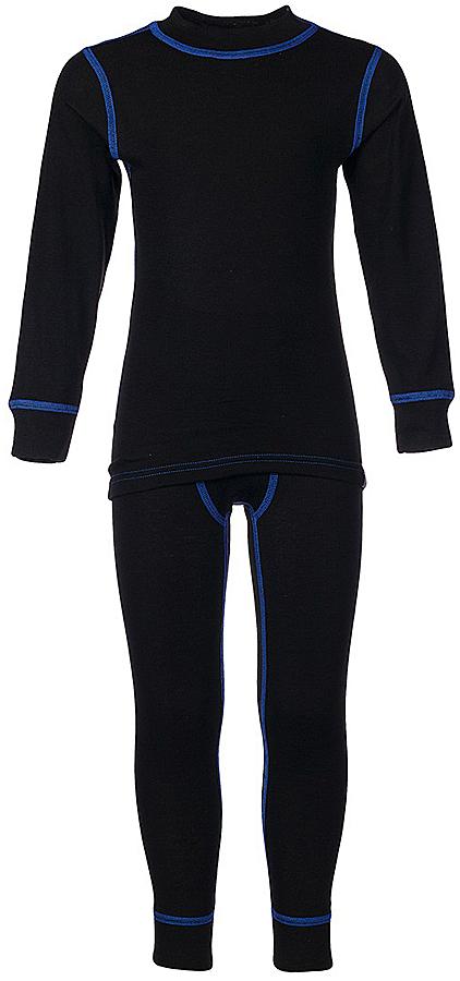 Комплект термобелья для мальчика Oldos Active Base: футболка с длинным рукавом, кальсоны, цвет: черный, василек. 001МН. Размер 146, 11 лет001МНКомплект термобелья для мальчика Oldos Active Base, состоящий из футболки с длинным рукавом и кальсон, предназначен для сохранения тепла и отвода влаги с поверхности тела. Термобелье отличается от обычного белья лучшей способностью сохранять тепло между кожей и тканью, вдобавок оно более эластичное, благодаря чему, оно не стесняет движений, не деформируется и служит дольше. Содержащийся в термобелье воздух, соприкасаясь с телом, нагревается до комфортной температуры. Таким образом, создается защитная прослойка из теплого воздуха между кожей и холодной внешней средой. При физической нагрузке кожа ребенка выделяет влагу, которая накапливаясь в ткани обычного белья, снижает его теплосберегающие свойства. На согревание и испарение этой влаги расходуется дополнительная энергия. Термобелье отводит влагу от тела. Защитная прослойка из теплого воздуха между кожей и внешней средой за счет разницы давления выталкивает влагу из термобелья. Это снижает теплопотери организма в холодную погоду, добавляет ощущение комфорта, защищает организм от перегрева во время физических нагрузок, а также от переохлаждения и простуды после их окончания. Однослойное полотно (лицевая сторона гладкая, а изнаночная - с мягким теплым начесом).Кофта с длинными рукавами и круглым вырезом горловины. На рукавах предусмотрены широкие трикотажные манжеты. Горловина дополнена трикотажной резинкой. Кальсоны на талии имеют широкую эластичную резинку, а брючины дополнены широкими трикотажными манжетами.Комплект термобелья используется как для повседневной носки, так и для активного отдыха. Рекомендуемый температурный режим от +5°С до -25°С. Такой комплект термобелья идеально подойдет для прогулок и игр на свежем воздухе!