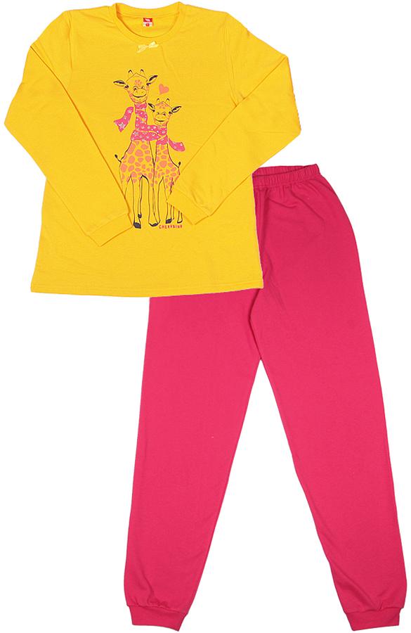 Пижама для девочки Cherubino, цвет: желтый. CAJ 5318. Размер 134CAJ 5318Пижама для девочки из трикотажа с начесом. Верх свободного выполнен из гладкокрашенного полотна, декорирован принтом. Низ из трикотажа контрастного цвета, по низу брючин манжеты.