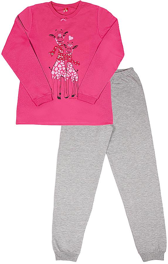 Пижама для девочки Cherubino, цвет: розовый. CAJ 5318. Размер 128CAJ 5318Пижама для девочки из трикотажа с начесом. Верх свободного выполнен из гладкокрашенного полотна, декорирован принтом. Низ из трикотажа контрастного цвета, по низу брючин манжеты.