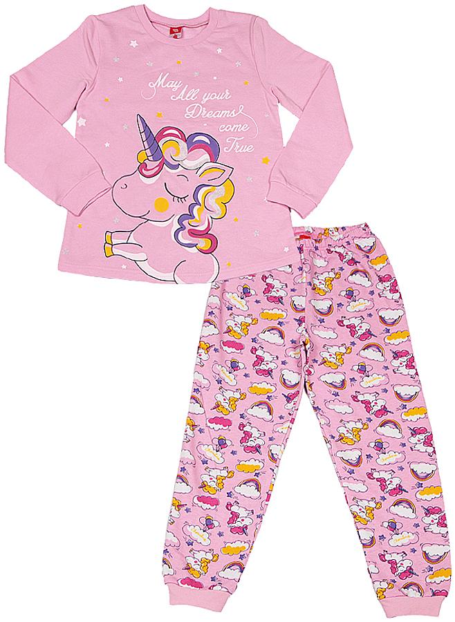 Пижама для девочки Cherubino, цвет: светло-розовый. CAK 5310. Размер 116CAK 5310Пижама для девочки из трикотажа с начесом. Верх выполнен из гладкокрашенного полотна, декорирован принтом. Низ из набивного трикотажа, по низу брючин манжеты.