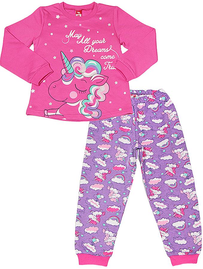 Пижама для девочки Cherubino, цвет: фуксия. CAK 5310. Размер 110CAK 5310Пижама для девочки из трикотажа с начесом. Верх выполнен из гладкокрашенного полотна, декорирован принтом. Низ из набивного трикотажа, по низу брючин манжеты.