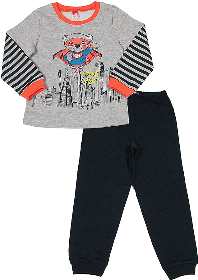 Пижама для мальчика Cherubino, цвет: серый меланж. CAB 5288. Размер 98CAB 5288Пижама для мальчика, из трикотажа с начесом. Состоит из гладкокрашенного джемпера с полосатыми рукавами, с принтом и гладкокрашенных брюк контрастного цвета.