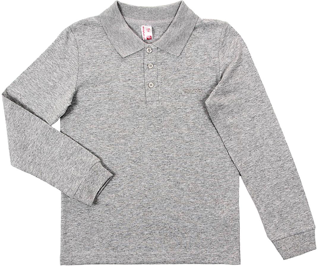 Поло для мальчика Cherubino, цвет: серый меланж. CAJ 61627. Размер 134CAJ 61627Рубашка-поло для мальчика с длинным рукавом, из плотного трикотажа. На рукавах манжеты.