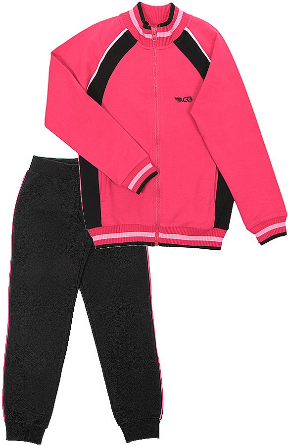 Спортивный костюм для девочки Cherubino, цвет: арбузный. CAJ 9655. Размер 140CAJ 9655Спортивный костюм для девочки, состоит из гладкокрашенных брюк с контрастного цвета лампасами и куртки с высоким воротником-стойкой, выполнена из трикотажа двух цветов.