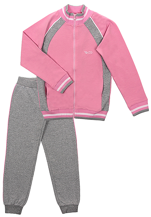 Спортивный костюм для девочки Cherubino, цвет: светло-розовый, серый меланж. CAJ 9655. Размер 140CAJ 9655Костюм спортивный Cherubino для девочки состоит из кофты и брюк, изготовленных из хлопка с добавлением полиэстера и эластана, благодаря чему они не сковывают движения ребенка и позволяют коже дышать. Кофта с воротником-стойкой, длинным рукавом, на застежке-молнии. Брюки дополнены широкой резинкой на талии и оформлены контрастными лампасами. Низ брючин дополнен эластичными резинками.