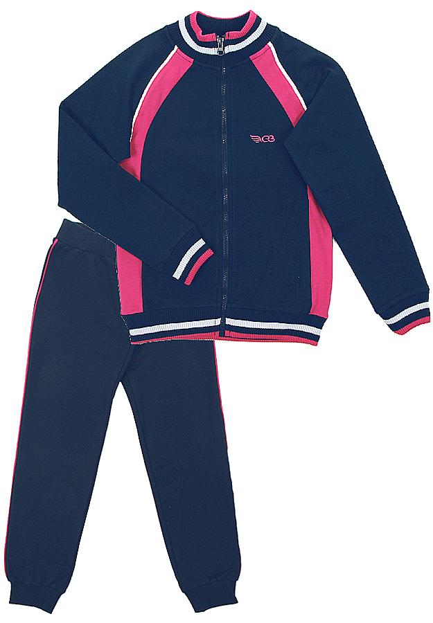 Спортивный костюм для девочки Cherubino, цвет: темно-синий. CAJ 9655. Размер 128CAJ 9655Костюм спортивный Cherubino для девочки состоит из кофты и брюк, изготовленных из хлопка с добавлением полиэстера и эластана, благодаря чему они не сковывают движения ребенка и позволяют коже дышать. Кофта с воротником-стойкой, длинным рукавом, на застежке-молнии. Брюки дополнены широкой резинкой на талии и оформлены контрастными лампасами. Низ брючин дополнен эластичными резинками.