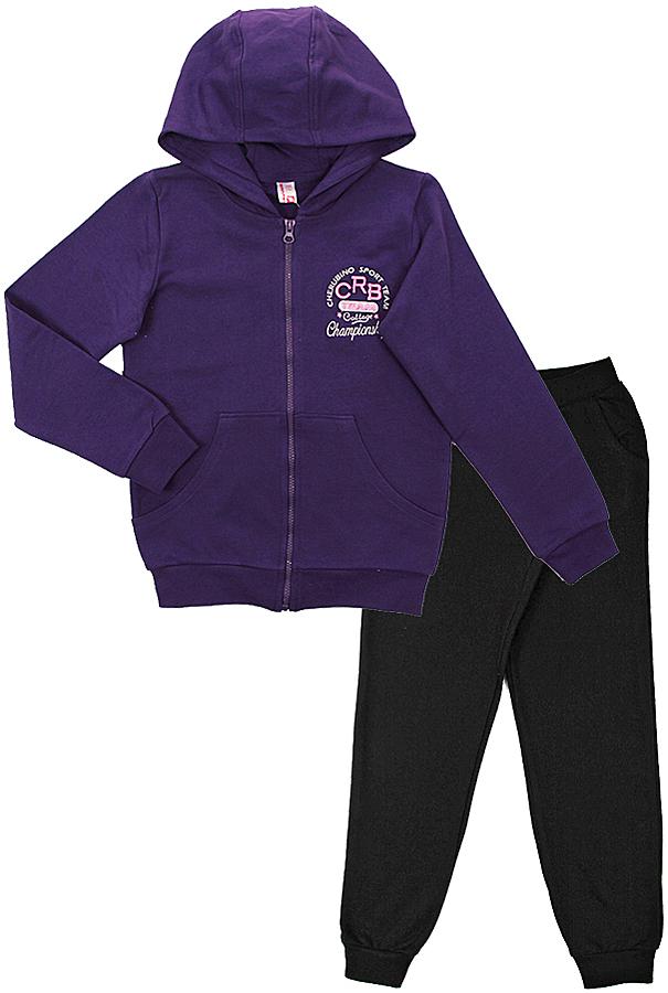 Спортивный костюм для девочки Cherubino, цвет: фиолетовый. CAJ 9654. Размер 146CAJ 9654Спортивный комплект для девочки, состоит из трикотажной куртки на молнии, с капюшоном, с карманами-кегуру и брюк контрастного цвета.