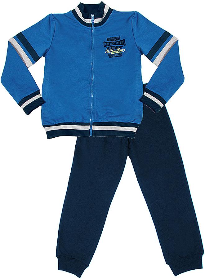 Спортивный костюм для мальчика Cherubino, цвет: синий. CAJ 9657. Размер 128CAJ 9657Спортивный костюм для мальчика, выполнен из плотного хлопкового трикотажа с добалением полиэстера. Куртка на молнии с высоким воротом. Декорирована контрастными лампасами на рукавах, по низу изделия и рукава полосатые манжеты. Брюки на манжете.