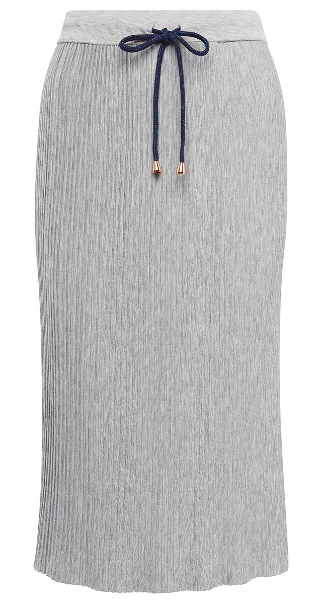 Юбка женская Tom Tailor, цвет: серый. 5555005.00.71_2973. Размер S (44)5555005.00.71_2973Плиссированная юбка от Tom Tailor выполнена из высококачественного материала с добавлением вискозы. Модель длины миди на талии дополнена широким эластичным поясом и утягивается шнурком-кулиской.