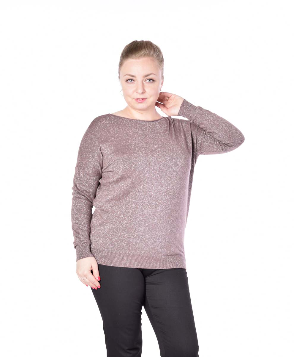 Джемпер женский Milanika, цвет: коричневый. 6627. Размер 52/546627Стильный вязаный джемпер от Milanika выполнен из пряжи сложного состава с люрексом. Модель прямого силуэта с длинными рукавами и круглым вырезом горловины.