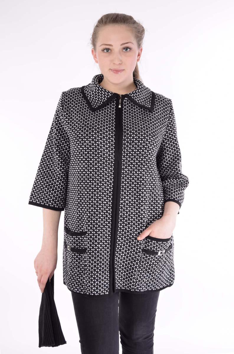 цена  Жакет женский Milana Style, цвет: черный, белый. 1460. Размер 58  онлайн в 2017 году