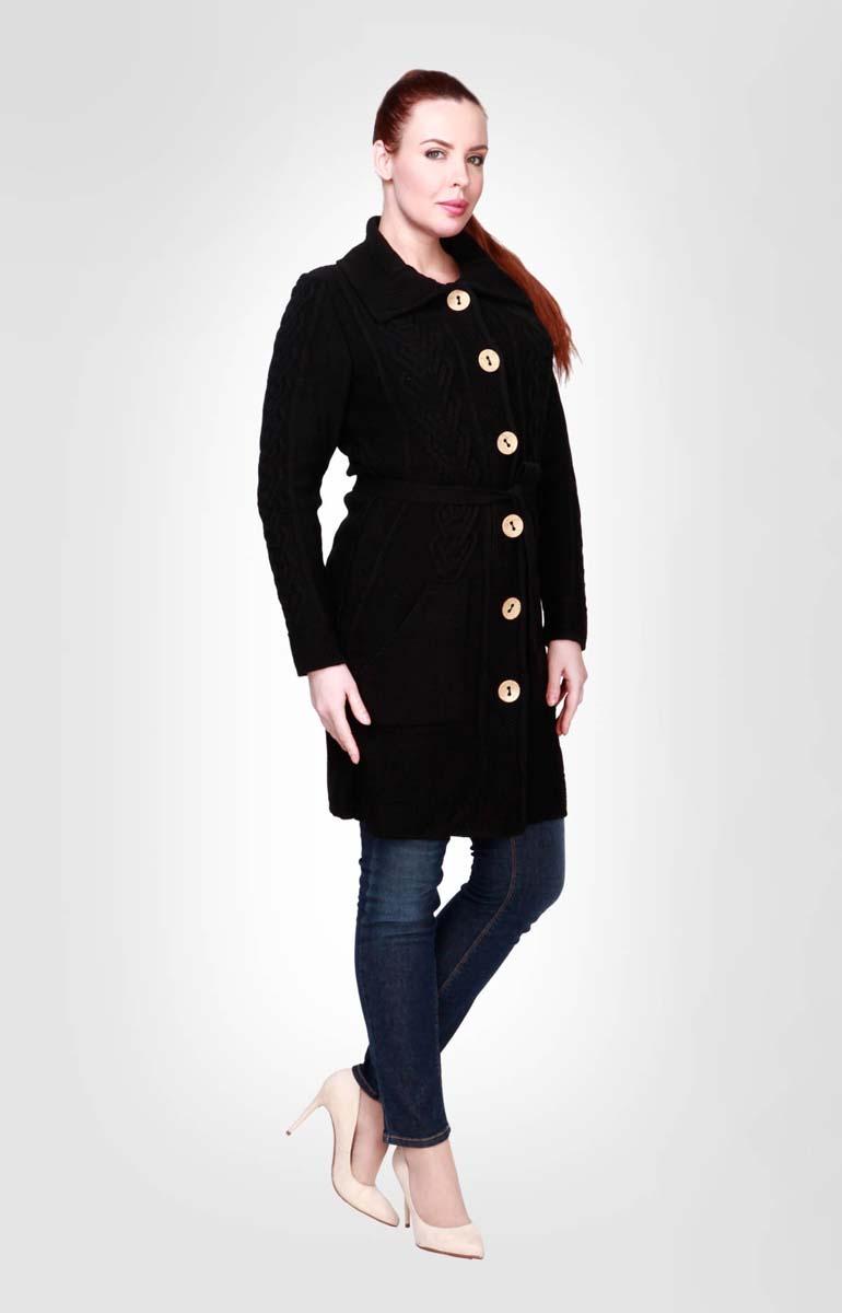 Кардиган женский Milana Style, цвет: черный. 732. Размер 54732Кардиган от Milana Style полуприлегающего силуэта с отложным воротником и застежкой на кокосовые пуговицы. Объемные вывязанные араны смотрятся очень стильно. Предусмотрены карманы и пояс в комплекте.