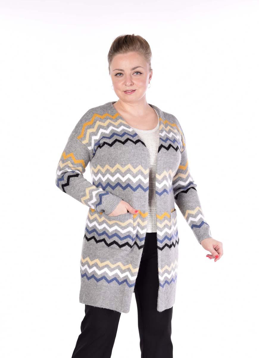 Кардиган женский Pettli Collection, цвет: серый. 14520. Размер 46/4814520Кардиган классического кроя правильной длины ниже бедра. V образный вырез горловины тоже выгодно подчеркнет фигуру. Всегда актуальная классика.
