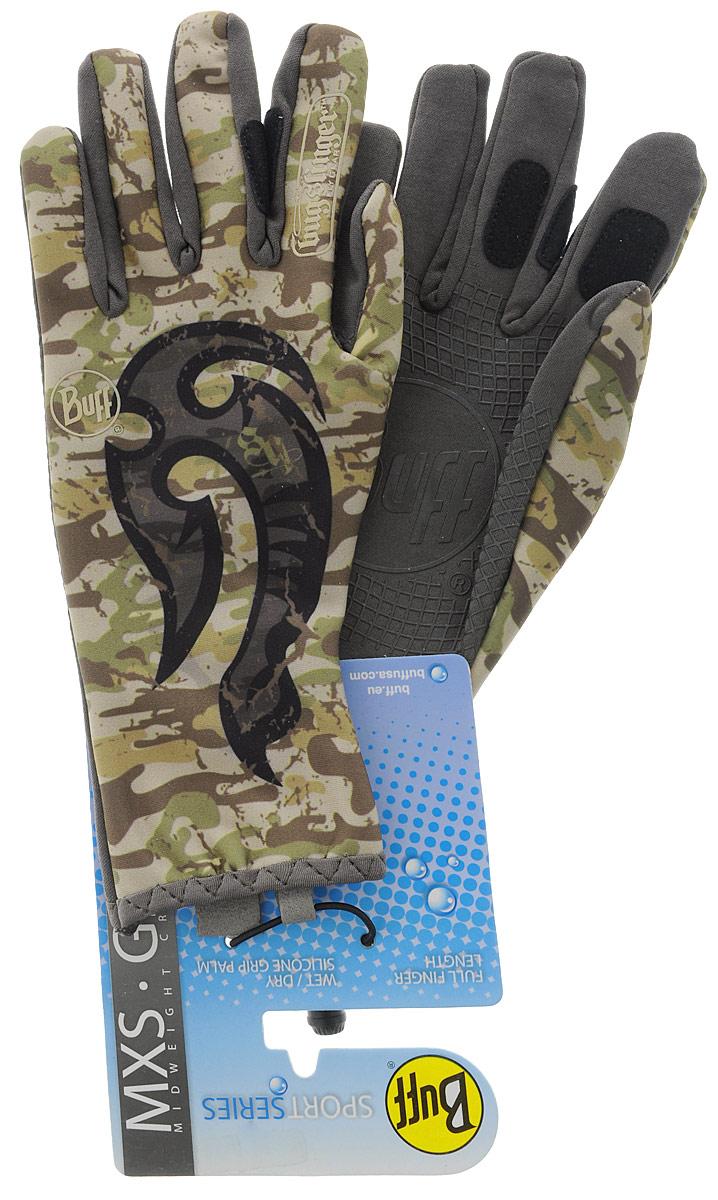 Перчатки рыболовные Buff MXS Licenses Bs Mahori Hook, цвет: хаки. 108440.00. Размер M/L (7,5-8)MXS Licenses Msx Bs Mahori HookТехнологичные рыболовные перчатки. Полностью с закрытыми пальцами. Выполнены из стрейтчевой ткани, комфортно облегающей кисть руки. Ладонь перчатки покрыта силиконовым принтом. Фактор защиты от солнца UPF 50+. Удлиненная манжета. Состав: 95% нейлон, 5% лайкра; принт на ладони: 100% силикон, трикотаж.