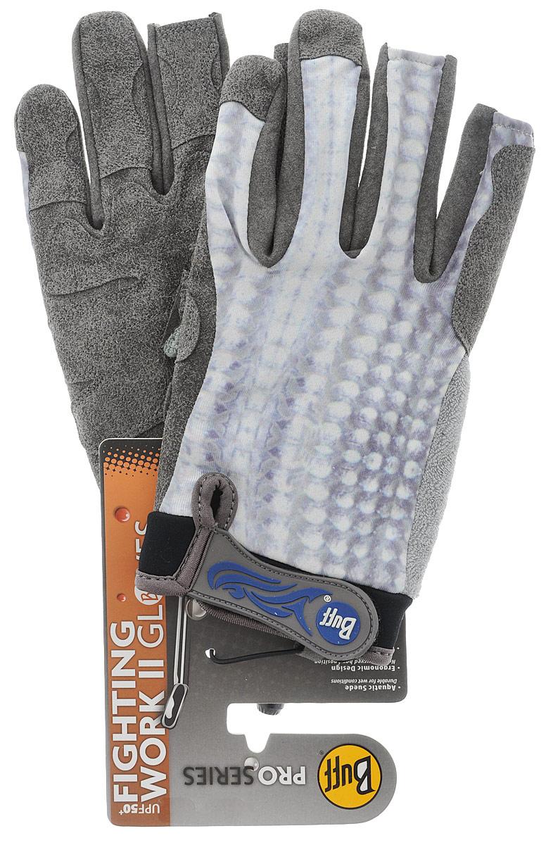 Перчатки рыболовные Buff Pro Fighting Work Grey Scale, цвет: серый. 15210. Размер M/L (7,5-8)Pro Fighting Work Grey ScaleТехнологичные рыболовные перчатки. Полностью с закрытыми пальцами. Выполнены из стрейтчевой ткани, комфортно облегающей кисть руки. Ладонь перчатки покрыта силиконовым принтом. Фактор защиты от солнца UPF 50+. Удлиненная манжета. Состав: 95% нейлон, 5% лайкра; принт на ладони: 100% силикон, трикотаж.
