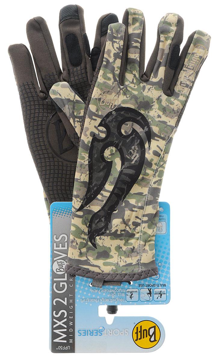 Перчатки рыболовные Buff MXS Licenses Msx Bs Mahori Hook, цвет: хаки. 108439.00. Размер S/M (7-7,5)MXS Licenses Msx Bs Mahori HookТехнологичные рыболовные перчатки. Полностью с закрытыми пальцами. Выполнены из стрейтчевой ткани, комфортно облегающей кисть руки. Ладонь перчатки покрыта силиконовым принтом. Фактор защиты от солнца UPF 50+. Удлиненная манжета. Состав: 95% нейлон, 5% лайкра; принт на ладони: 100% силикон, трикотаж.