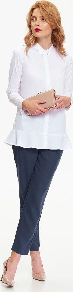 Рубашка женская Top Secret, цвет: белый. SKL2407BI. Размер 36 (44)SKL2407BIЖенская рубашка Top Secret выполнена из эластичного хлопка. Модель с длинными рукавами и отложным воротником застегивается на пуговицы, скрытые под планкой, по низу декорирована баской.