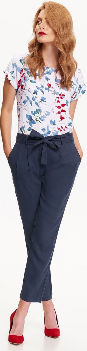 Брюки женские Top Secret, цвет: темно-синий. SSP2554GR. Размер 42 (50)SSP2554GRЖенские брюки Top Secret выполнены из высококачественного лиоцелла. Укороченная модель в поясе застегивается на крючок, имеется ширинка на молнии и текстильный пояс. По бокам брюки дополнены втачными карманами, сзади – прорезными.