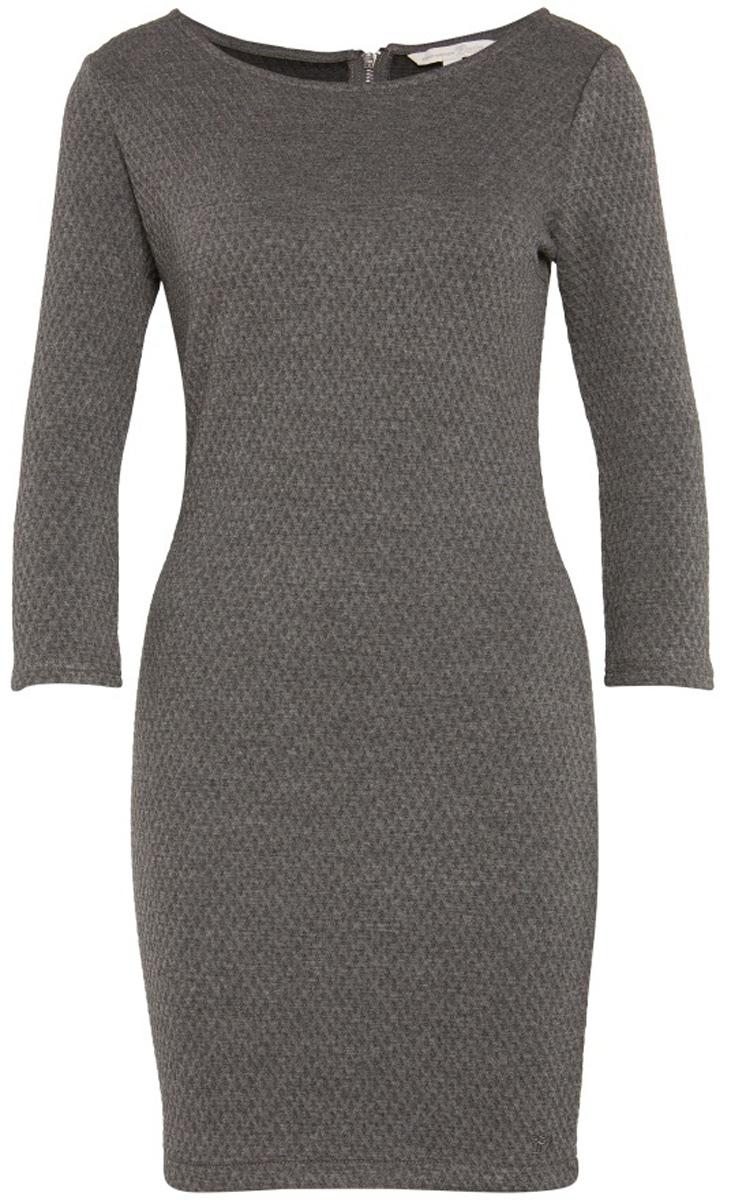 Платье Tom Tailor, цвет: серый. 5018803.09.71_2623. Размер L (48)5018803.09.71_2623Стильное платье Tom Tailor выполнено из высококачественного материала. Модель облегающего кроя с округлым вырезом горловины и рукавами 3/4 на спине застегивается на молнию.