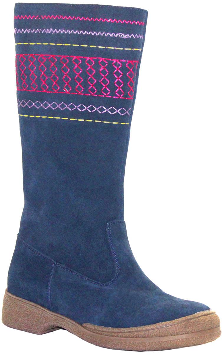 Сапоги для девочки Аллигаша, цвет: темно-зеленый. 11-145. Размер 3411-145Стильные зимние сапоги для юных модниц выполнены из натуральной замши самого высокого качества. Голенище декорировано узорчатой вышивкой. Стелька и подкладка из натурального меха отлично сохраняют тепло и обеспечат комфорт ножкам. Прочная подошва с рифлением гарантирует сцепление с любой поверхностью. Сапоги от торговой марки Аллигаша незаменимы в суровые Российские зимы, рекомендуемый температурный режим от - 2 до - 35 С. Идеальное сочетание цены и качества.