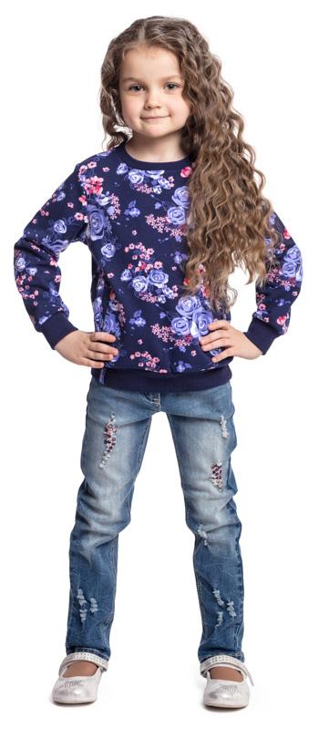Джинсы для девочки PlayToday, цвет: голубой. 372063. Размер 110372063Джинсы PlayToday из эластичной хлопковой ткани с потертостями - отличное решение для повседневного гардероба. Модель декорирована стразами. Пояс на регулируемой изнутри резинке. Классическая пятикарманная модель со шлевками. При необходимости может быть дополнена ремнем.