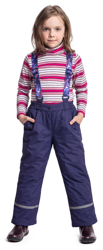 Брюки утепленные для девочки PlayToday, цвет: фиолетовый. 372055. Размер 128372055Утепленные брюки PlayToday из водоотталкивающей ткани - отличное решение для промозглой погоды. Модель дополнена регулируемыми лямками, декорированными ярким принтом. Пояс на широкой удобной резинке, не сдавливающей живот ребенка. Светоотражатели обеспечат видимость в темное время суток.