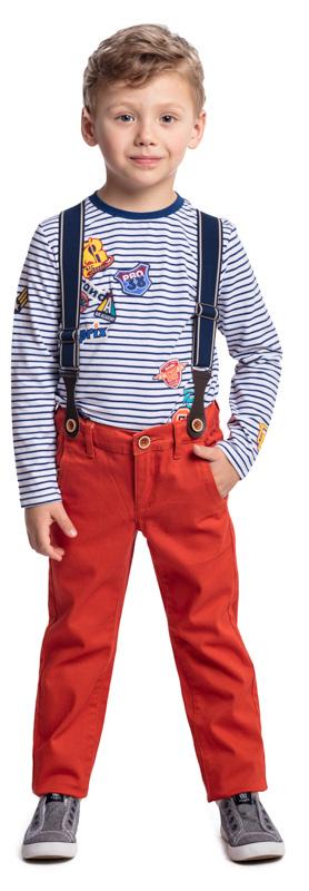 Брюки для мальчика PlayToday, цвет: оранжевый. 371062. Размер 122371062Практичные брюки PlayToday дополнены подтяжками. Модель дополнена декоративными карманами и пуговицами. Пояс изнутри можно отрегулировать за счет резинки на пуговицах.