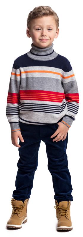 Брюки для мальчика PlayToday, цвет: темно-синий. 371060. Размер 122371060Удобные вельветовые брюки PlayToday. Модель на широкой резинке, не сдавливающей живот ребенка. Брюки с имитацией молнии, дополнены пятью карманами.