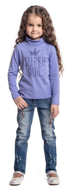 Водолазка для девочки PlayToday, цвет: сиреневый. 372078. Размер 98372078Водолазка PlayToday выполнена из эластичного хлопка. Модель с длинными рукавами и воротником-гольф имеет свободный крой, который не сковывает движений. Модель декорирована принтом.