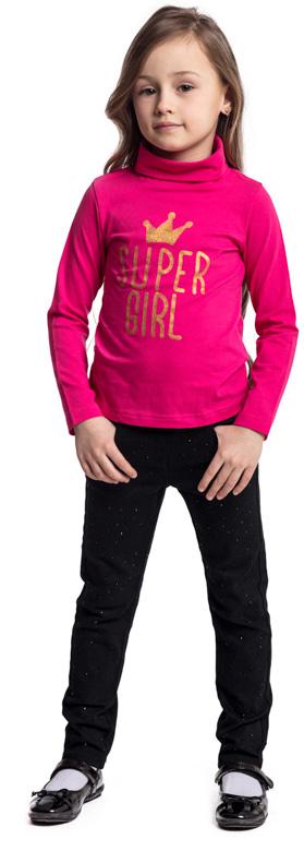 Водолазка для девочки PlayToday, цвет: фуксия. 372030. Размер 128372030Водолазка PlayToday выполнена из эластичного хлопка. Модель с длинными рукавами и воротником-гольф имеет свободный крой, который не сковывает движений. Модель декорирована принтом.