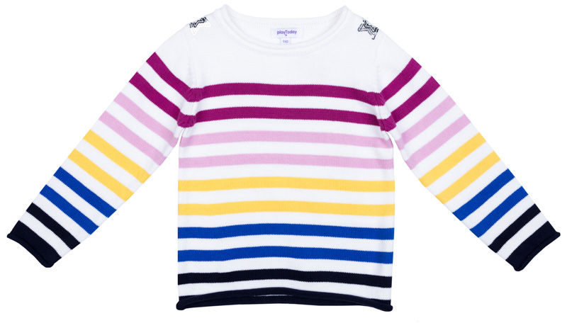 Джемпер для девочки PlayToday, цвет: белый, желтый, розовый, голубой, синий. 372157. Размер 128372157Джемпер PlayToday разнообразит гардероб ребенка. Модель выполнена в технике Yarn Dyed: в процессе производства используются разного цвета нити, тем самым изделие, при рекомендуемом уходе, не линяет и надолго остается в исходном виде. В качестве декора использована аппликация из пайеток.