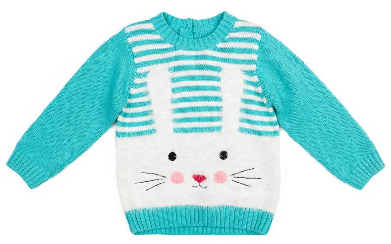 Джемпер для девочки PlayToday, цвет: голубой, белый. 378057. Размер 80378057Мягкий теплый джемпер PlayToday дополнит гардероб ребенка. Модель из смесовой ткани, с содержанием шерсти и вискозы. За счет высокой гигроскопичности материалов и их способности сохранять тепло, джемпер прекрасно впитывает лишнюю влагу и ребенку в нем будет очень комфортно. Сзади модель застегивается на пуговицы. Полочка выполнена в технике Yarn Dyed - в процессе производства используются разного цвета нити. При рекомендуемом уходе модель не линяет и надолго остается в первоначальном виде. В качестве декора использован жаккардовый рисунок в виде зайца из нити с содержанием пуха. Манжеты, низ и горловина изделия на мягких трикотажных резинках.