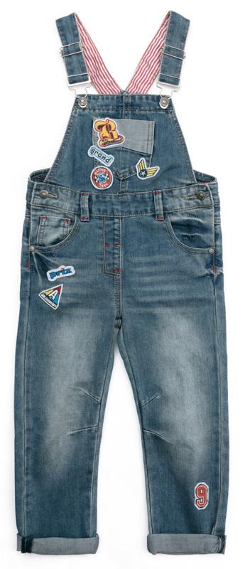 Полукомбинезон для мальчика PlayToday, цвет: синий, желтый. 371065. Размер 110371065Полукомбинезон PlayToday из плотной джинсовой ткани - отличное решение и для повседневного гардероба. Модель на регулируемых лямках с пуговицами. Пояс дополнен шлевками, при необходимости можно использовать ремень. В качестве декора использована аппликация и контрастные швы. Полукомбинезон с втачными и накладными карманами.