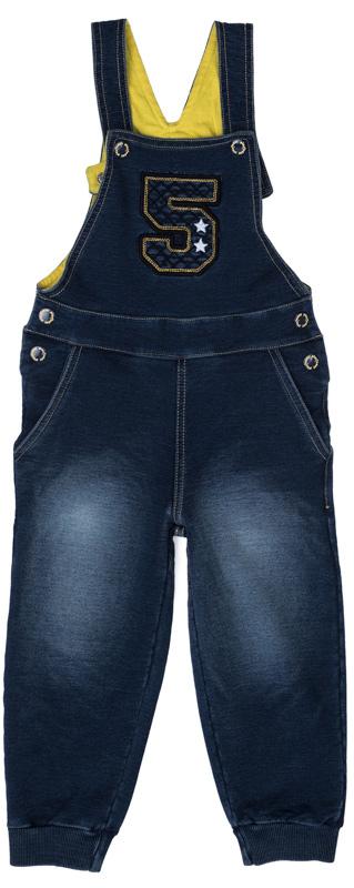 Полукомбинезон для мальчика PlayToday, цвет: темно-синий, желтый. 377021. Размер 92377021Полукомбинезон для мальчика PlayToday Baby, оформленный аппликацией и контрастной строчкой, - отличное решение и для повседневного гардероба, и в качестве домашней одежды. Модель на регулируемых бретелях на кнопках изготовлена из мягкого джинсового трикотажа с потертостями и в области талии на спинке дополнена широкой резинкой. Спереди расположены два втачных кармана. Низ брючин дополнен мягкими трикотажными резинками для удобства и дополнительного сохранения тепла.