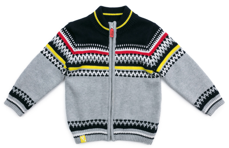 Кардиган для мальчика PlayToday, цвет: серый, темно-серый, белый, красный. 377054. Размер 74377054
