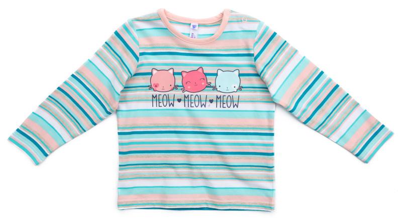 Футболка с длинным рукавом для девочки PlayToday, цвет: голубой, белый, светло-розовый. 378066. Размер 92378066Футболка с длинным рукавом PlayToday выполнена из эластичного хлопка. Футболка сможет быть и повседневной, и домашней одеждой. Модель выполнена в технике Yarn Dyed - в процессе производства используются разного цвета нити. Тем самым изделие при рекомендуемом уходе не линяет и надолго остается в первоначальном виде. По плечу расположены удобные застежки-кнопки.