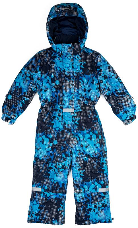 Комбинезон утепленный для мальчика PlayToday, цвет: темно-синий, голубой. 371185. Размер 116371185Теплый комбинезон PlayToday выполнен из водонепроницаемой ткани. Модель на молнии. Специальный карман для фиксации бегунка не позволит застежке травмировать нежную детскую кожу. Подкладка из флиса. На талии модель дополнена широкой резинкой. Капюшон на застежках-кнопках, по контуру расположен удобный шнур-кулиска. Облегающие руку манжеты рукавов со специальным отверстием для большого пальца. Светоотражатели обеспечат видимость ребенка в темное время суток. На рукавах расположен карман для ски-пасса. Низ штанин дополнен специальными манжетами со штрипками. Внутри комбинезона расположены вшивные лямки. В помещении верхнюю часть модели можно снять. На рукавах расположены кольца для перчаток.