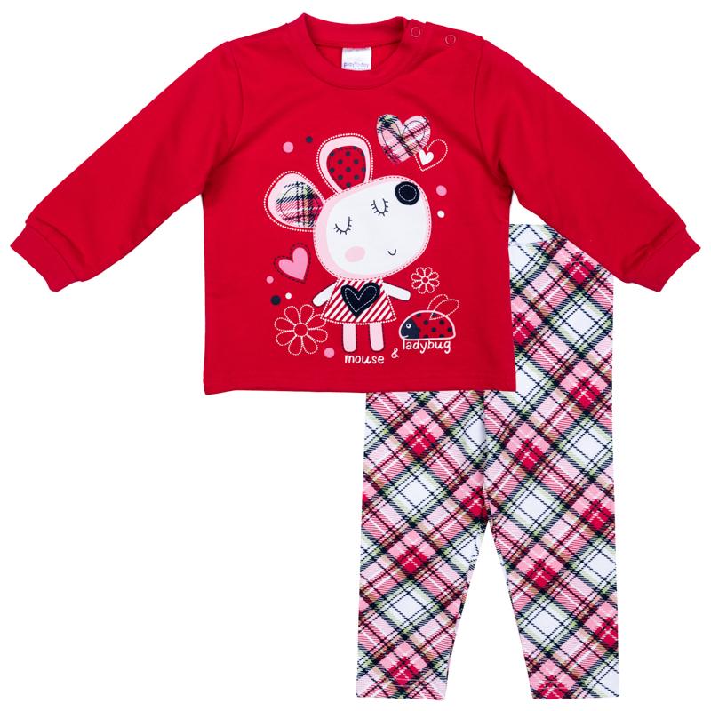 Комплект одежды для девочки PlayToday: футболка с длинным рукавом, леггинсы, цвет: красный, серый, белый. 378807. Размер 62378807Комплект PlayToday, состоящий из футболки с длинным рукавом и леггинсов, сможет быть и повседневной, и домашней одеждой. Для удобства снимания и одевания, футболка по плечу дополнена удобными застежками-кнопками. Рукава на мягких манжетах. В качестве декора использован эффектный принт. Леггинсы на широкой мягкой резинке. Свободный крой не сковывает движений ребенка. Мягкий материал приятен к телу и не вызывает раздражений.