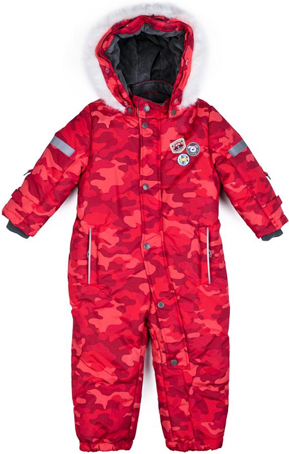 Комбинезон утепленный для мальчика PlayToday, цвет: красный, серый. 377052. Размер 86377052