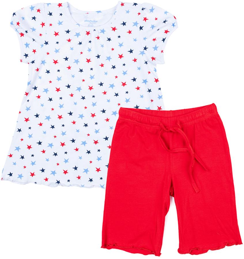 Комплект одежды для девочки PlayToday: футболка, шорты, цвет: белый, красный. 376009. Размер 110376009Комплект PlayToday, состоящий из футболки и шорт, может быть и домашней одеждой, и уютной пижамой. Натуральный, приятный к телу материал не сковывает движений. Пояс брюк на широкой мягкой резинке, дополнен регулируемым шнуром-кулиской. Футболка выполнена из принтованной ткани с нежным рисунком.