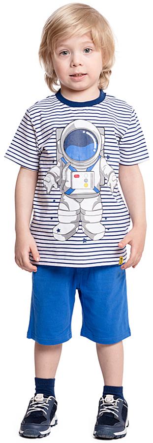 Комплект одежды для мальчика PlayToday: футболка, шорты, цвет: белый, синий. 371039. Размер 128371039Комплект PlayToday состоит из футболки и шорт. Натуральный материал не сковывает движений. Пояс шорт на широкой мягкой резинке, дополнен регулируемым шнуром-кулиской. Футболка выполнена по технологии Yarn Dyed - в процессе производства используются разного цвета нити. При рекомендуемом уходе изделие не линяет и надолго остается в первоначальном виде.