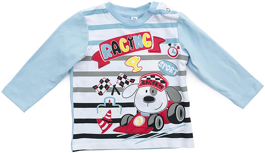 Комплект одежды для мальчика PlayToday: футболка с длинным рукавом, брюки, цвет: голубой, серый. 377075. Размер 80377075Комплект PlayToday, состоящий из футболки с длинным рукавом и брюк, выполнен из эластичного хлопка. Для удобства снимания и одевания плечо футболки дополнено застежками-кнопками. Пояс брюк на широкой резинке, не сдавливающей живот ребенка. Низ штанин также на резинках. В качестве декора на футболку нанесен принт.