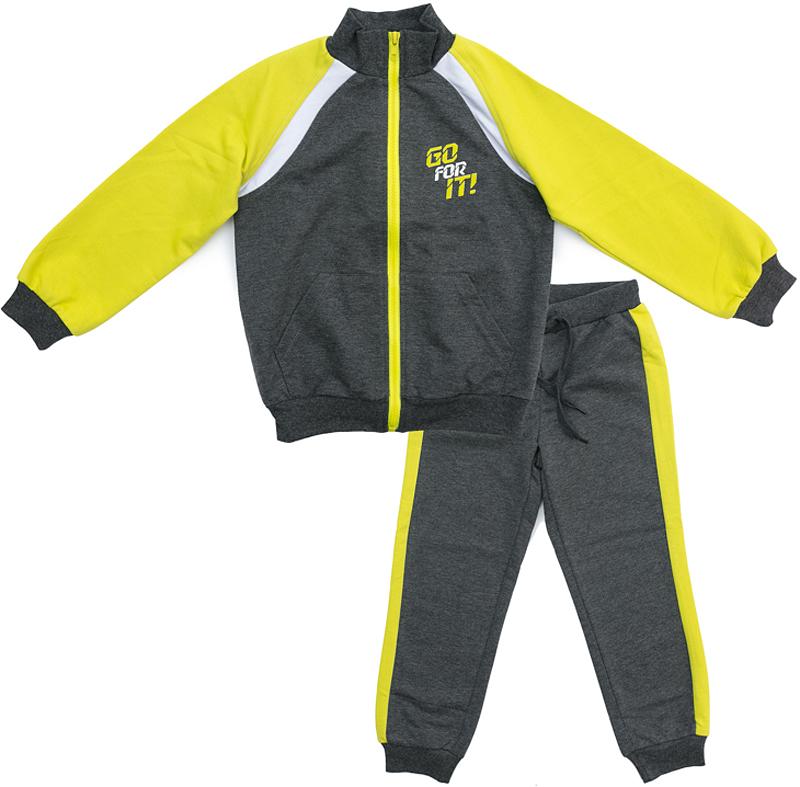Спортивный костюм для мальчика PlayToday, цвет: темно-серый, желтый. 370006. Размер 110370006Спортивный костюм PlayToday состоит из толстовки и брюк. Толстовка с длинными рукавами и воротником-стойкой на молнии. Горловина, манжеты и низ изделия на мягких трикотажных резинках. Пояс брюк на резинке, не сдавливающей живот ребенка, дополнен регулируемым шнуром-кулиской. Низ брючин на мягких трикотажных манжетах. Боковины брюк дополнены лампасами.