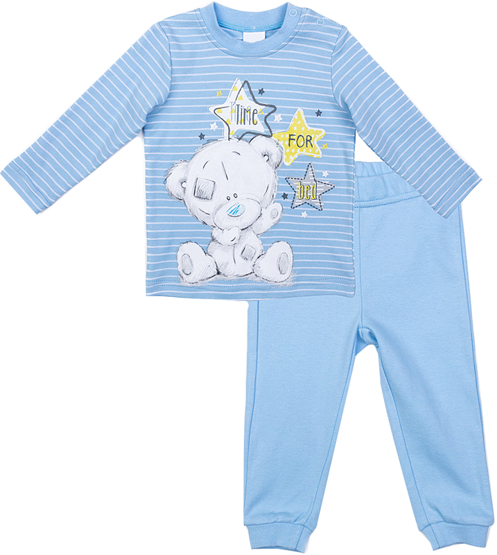 Комплект одежды для мальчика PlayToday: футболка с длинным рукавом, брюки, цвет: голубой, белый. 577801. Размер 74577801Комплект PlayToday, состоящий из футболки с длинным рукавом и брюк, может быть и домашней, и повседневной одеждой. Натуральный, приятный к телу материал не сковывает движений. Пояс брюк на широкой мягкой резинке. Низ штанин на мягких манжетах. Футболка декорирована ярким принтом. По плечу футболки расположены удобные застежки-кнопки. В качестве декора использован лицензированный принт.