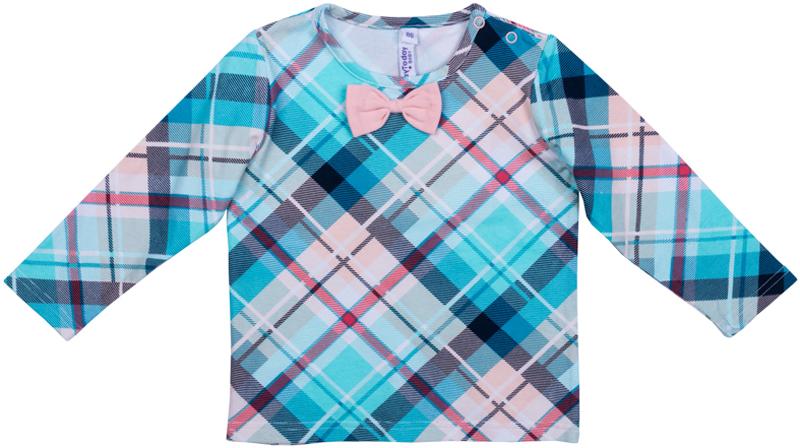 Футболка с длинным рукавом для девочки PlayToday, цвет: голубой, розовый. 378065. Размер 74378065Футболка с длинным рукавом PlayToday выполнена из эластичного хлопка. Футболка может быть и домашней, и повседневной одеждой. Модель дополнена удобными застежками-кнопками по плечу и декорирована аккуратным бантом.